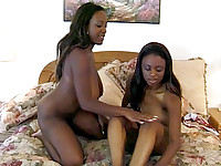 Watch this hot scene with Sierra, Lola Lane, Storm and Caramel where they undress and play with their big funbags and make use of their tongues to pleasure each others throbbing clits. Watch these horny ebonies jam each others cunt with a rubber dildo.