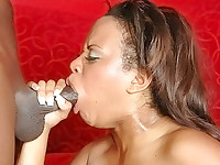 Kandi Kream is one hot babe and this babe's love for huge black knobs is unbelievable. Watch as this big-titted black chick tries to deep throat this monster black meat and then bend over so she could get fucked from behind. She then kneels down to receive a hot facial.