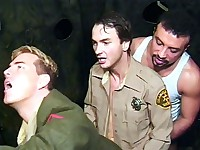Three handsome gay men in uniform are indulging their hunger for group sex. It all starts when one of them went down and examined two stiff dicks with his mouth. He gave them a thorough sucking and stroking before they all began bottoming each other.