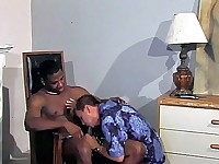 This awesome interracial gay sex clip begins with macho black hunk Soloman sitting on a chair and clutching his huge black dick. His partner joined him, a horny Asian dude named Zack Master began gobbling his black meat, working every inch of it with his mouth.