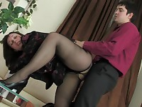 Judith and Adam mature pantyhose action