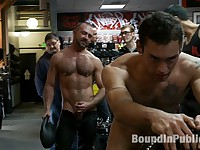 Ripped boy gets his hole shocked and filled at Mr. S Leather Store.