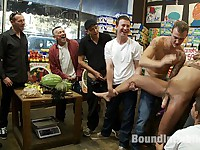 Studly shoplifter gets an eggplant up his ass and a face full of cum at a fruit stand.