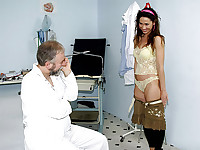A young girl is visiting her doctor. He tells her to undress completely and when she is naked he starts licking her nipples. The girl objects but he continues, shoving his dick in her mouth. Later on he fucks her in a gyno chair.