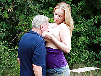 Lizzy is in the forest, basking in the sunshine when she notices a funny old man who is peeking at her from the bushes. Without any ado she decides to punish the pervert by first smothering him with her tits and then fucking him to near death!