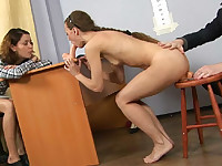 Double fuck attack on a submissive office girl