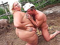 Dirty BBW Fucking in pig Field