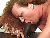 Sexy redhead Ms. Tiffany has a lot of cushion for the pushin.  She is a BBW with huge all natural breasts. She gets off by sucking on her on tits and playing with the nipples while rubbing her hairy pussy with her other hand.  Little does she know that two guys are watching her finger her fat pussy and want in on the action.  Ms. Tiffany is eager to invite these much younger studs to climb on board and give her the satisfaction she desires.  She knows she is more than enough of a woman to satisfy them both.