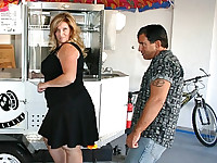 We didn't expect to find a hot blonde BBW to be out looking for a hotdog cart. So when Deedra arrived in her short black dress, she turned from prospective buyer to possible prey. She has all the qualities we are looking for - big, beautiful and in need of a little cash. We invited her inside the house just so we could see just how much she loves hotdogs.