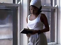 Nia Long angry nipples poking thru her thin white shirt