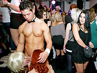 Clothed female naked male party