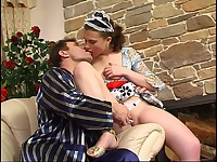 Young maid and her older friend have a break with oral fun and hard dicking