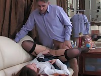 Hot babe taking her older co-worker to take a cock break with oral foreplay