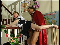 Young maid pleasing her balding master and getting rammed hard from behind