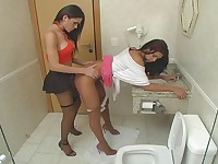 Steaming hot shemale and naughty chick prefer to fuck right in rest-room