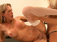 Heated t-girls in plain-top stockings getting to shemale-on-shemale action