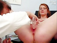 Helga gyno pussy speculum examination on gynochair at kinky clinic
