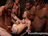 Rain Degrey cums hard as she is tied up and pounded in every hole by her boss and his friends. Hot interracial gangbanging action!!  Actors: Mickey Mod, Rain DeGrey, Bobby Bends, Tee Reel, Rico Strong, Sean Michaels